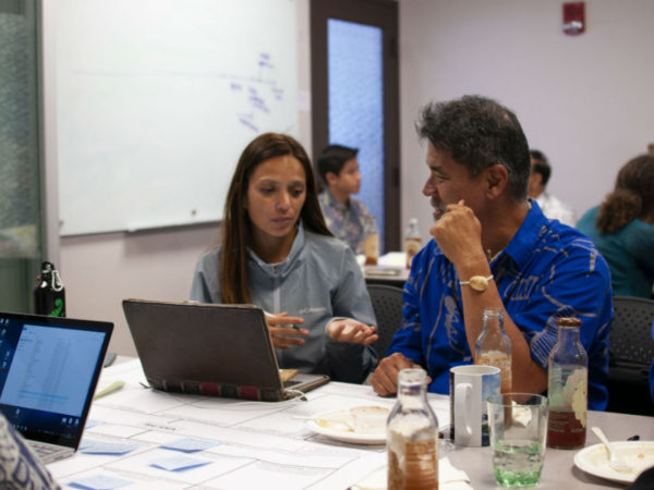 Fellow Tiare Aguilera (Rapa Nui) and her mentor Sam Gon, The Nature Conservancy, discuss her project to develop a Climate Change Action Plan for Rapa Nui.