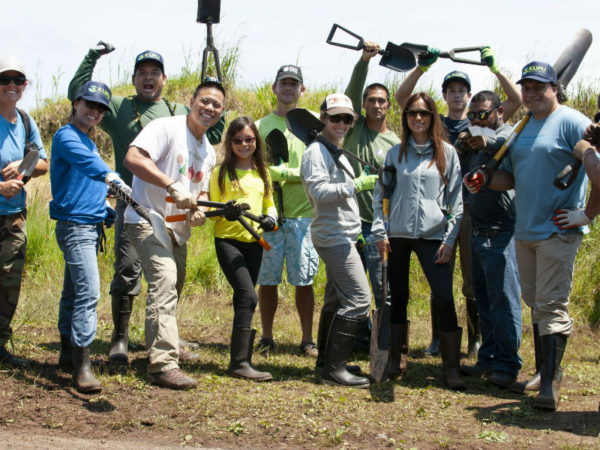 Pacific Resiliency Fellows and Kupu staff prepare to remove invasive blackberries and other invasive species at Kaala.
