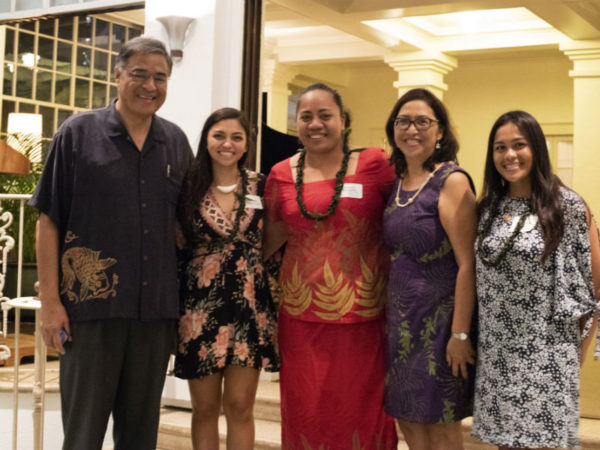 Mufi Hannemann, Esther Kia'āina, and Fellows at Washington Place Opening Reception.