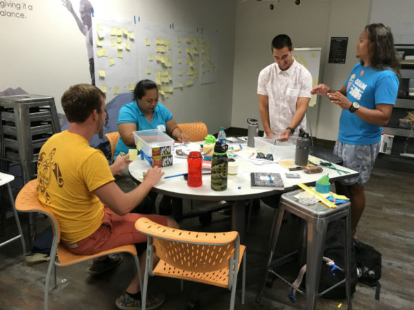 Fellows work together to prototype their ideas during Design Thinking training.