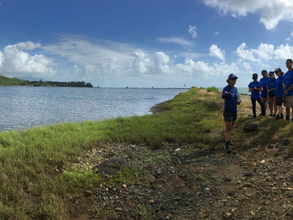 Day 5:  Co-Founder and Executive Director of Paepae of Heei'a, Hi'ilei Kawelo, teaches the Fellows about the restoration history of He'eia Fish Pond.