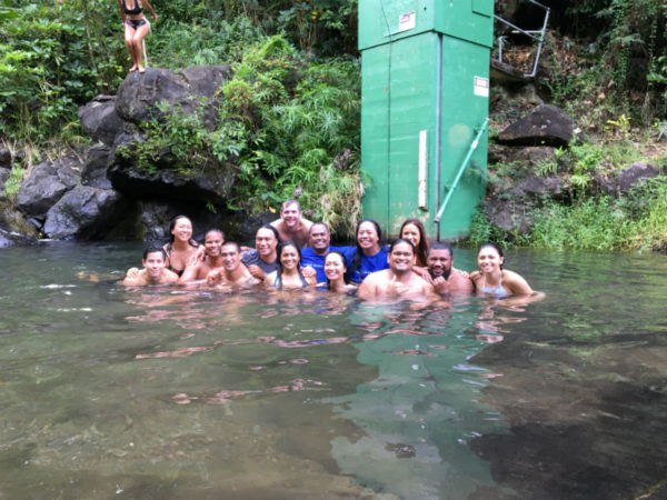 Fellows enjoy some time in the water at Papahana Kuaola.
